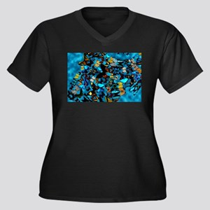 Butterflies Women's Plus Size V-Neck Dark T-Shirt