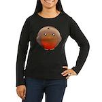 Cute Robin Bird Women's Long Sleeve Dark T-Shirt
