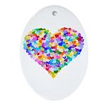 Rainbow Heart of Hearts Ornament (Oval)