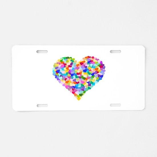 Rainbow Heart of Hearts Aluminum License Plate