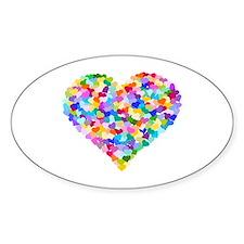 Rainbow Heart of Hearts Sticker (Oval)