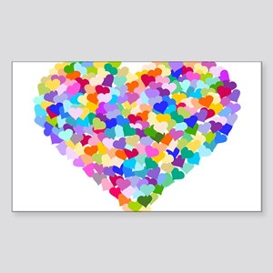 Rainbow Heart of Hearts Sticker (Rectangle)