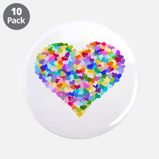 """Rainbow Heart of Hearts 3.5"""" Button (10 pack)"""