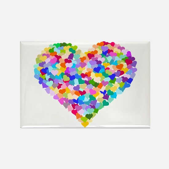 Rainbow Heart of Hearts Rectangle Magnet