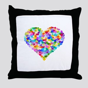 Rainbow Heart of Hearts Throw Pillow