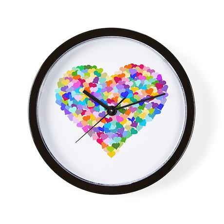 Rainbow Heart of Hearts Wall Clock