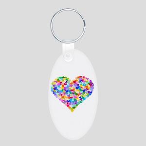 Rainbow Heart of Hearts Aluminum Oval Keychain