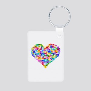 Rainbow Heart of Hearts Aluminum Photo Keychain