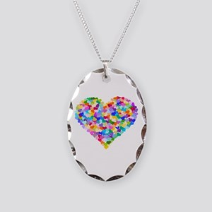 Rainbow Heart of Hearts Necklace Oval Charm