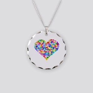 Rainbow Heart of Hearts Necklace Circle Charm