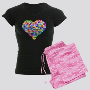 Rainbow Heart of Hearts Women's Dark Pajamas