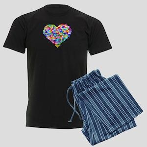 Rainbow Heart of Hearts Men's Dark Pajamas