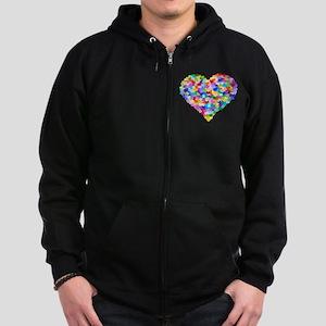 Rainbow Heart of Hearts Zip Hoodie (dark)