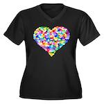 Rainbow Heart of Hearts Women's Plus Size V-Neck D