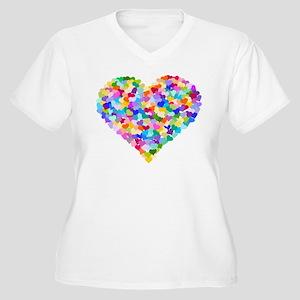 Rainbow Heart of Hearts Women's Plus Size V-Neck T
