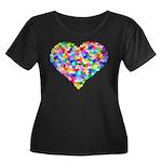 Rainbow Heart of Hearts Women's Plus Size Scoop Ne