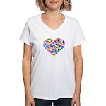 Rainbow Heart of Hearts Women's V-Neck T-Shirt