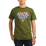 Rainbow Heart of Hearts Organic Men's T-Shirt (dar