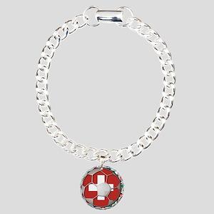 Switzerland Flag World Cup Fo Charm Bracelet, One