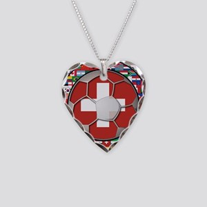 Switzerland Flag World Cup Fo Necklace Heart Charm