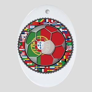 Portugal Flag World Cup Footb Ornament (Oval)