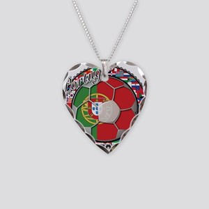Portugal Flag World Cup Footb Necklace Heart Charm