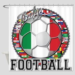 Italy Flag World Cup Football Shower Curtain