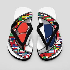 France Flag World Cup Footbal Flip Flops