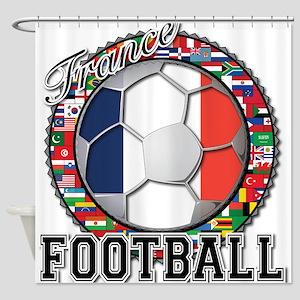 France Flag World Cup Footbal Shower Curtain