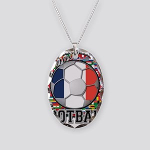 France Flag World Cup Footbal Necklace Oval Charm