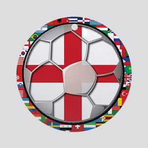 England Flag World Cup Footba Ornament (Round)
