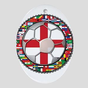 England Flag World Cup Footba Ornament (Oval)