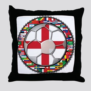 England Flag World Cup Footba Throw Pillow