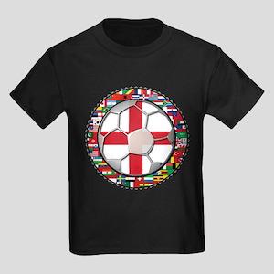 England Flag World Cup Footba Kids Dark T-Shirt