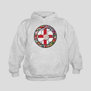 England Flag World Cup Footba Kids Hoodie