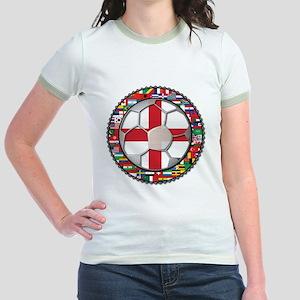 England Flag World Cup Footba Jr. Ringer T-Shirt