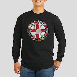 England Flag World Cup Footba Long Sleeve Dark T-S
