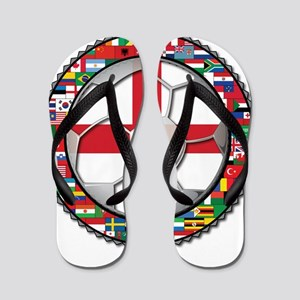 England Flag World Cup Footba Flip Flops