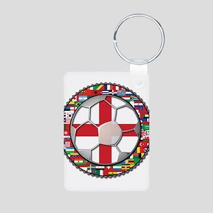 England Flag World Cup Footba Aluminum Photo Keych
