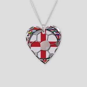 England Flag World Cup Footba Necklace Heart Charm