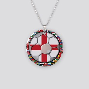 England Flag World Cup Footba Necklace Circle Char
