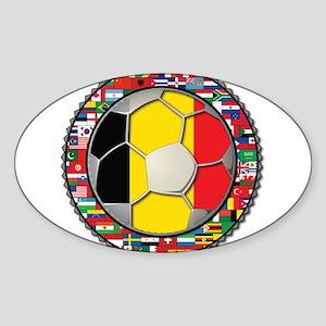 Belgium Flag World Cup Footba Sticker (Oval)
