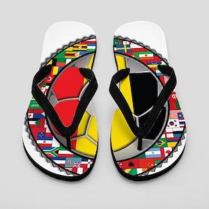Belgium Flag World Cup Footba Flip Flops