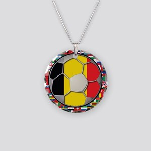 Belgium Flag World Cup Footba Necklace Circle Char