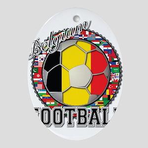 Belgium Flag World Cup Footba Ornament (Oval)