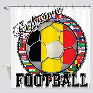 Belgium Flag World Cup Footba Shower Curtain