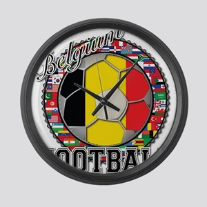 Belgium Flag World Cup Footba Large Wall Clock