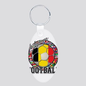 Belgium Flag World Cup Footba Aluminum Oval Keycha