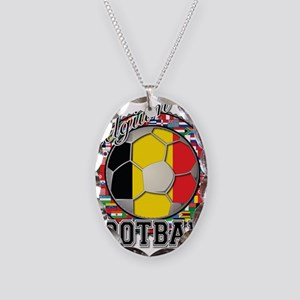 Belgium Flag World Cup Footba Necklace Oval Charm