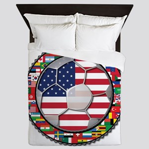 United States Flag World Cup Queen Duvet